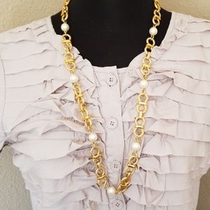 Gold Tone Faux Pearl Chain Link Necklace